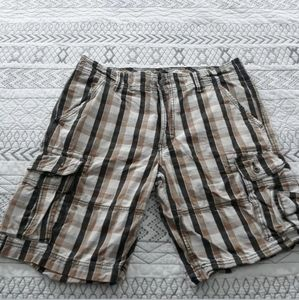 Men's Levi's Plaid Cargo Shorts 36 Brown Tan EUC